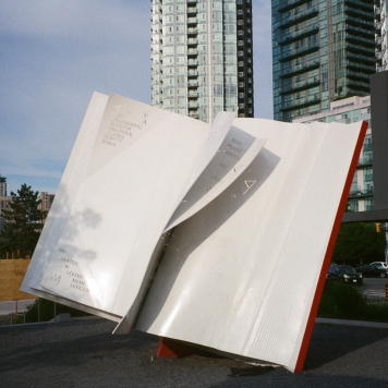A statue of a book in the middle of the city because why not? (Aug 2018)